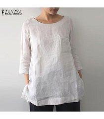 zanzea mujeres o cuello ocasional de la camisa llanura tops de split hem de gran tamaño de la blusa del tamaño extra grande -blanquecino