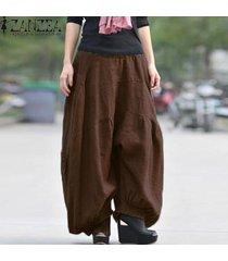 zanzea sólido largo ancho pierna holgada holgada pantalones cargo pantalones mujer algodón lino cintura alta elástica moda linterna pantalon café -marrón