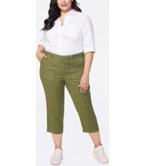 nydj women's plus size stretch linen utility pants