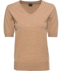 maglione a maniche corte con scollo a v (beige) - bodyflirt
