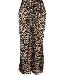 silk stretch satin skirt lång kjol brun ganni