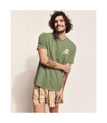 """camiseta masculina birden desert rules"""" manga curta gola careca verde militar"""""""