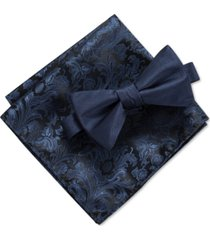 ryan seacrest distinction men's edith solid pre-tied bow tie & paisley pocket square set, created for macy's