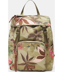 backpack floral embroideries - green - u