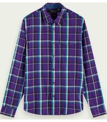 scotch & soda regular fit geruit overhemd met lange mouwen