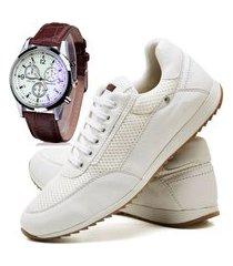 sapatênis sapato casual com cadarço juilli com relógio 1100m branco