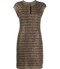 chanel pre-owned metallic tweed dress - brown