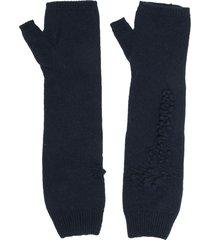 barrie cashmere fingerless gloves - blue