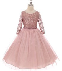 mauve long sleeve stretchy lace bodice tulle skirt with belt flower girl dress
