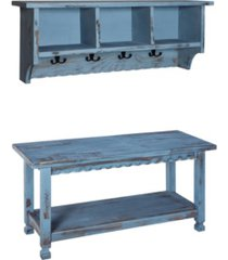 country cottage coat hooks and bench set, blue antique finish