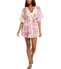 miken juniors' tie-dyed chiffon kimono cover-up, created for macy's women's swimsuit