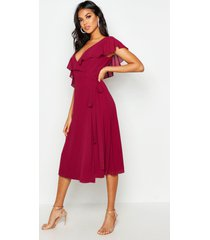 chiffon cold shoulder wrap midi skater dress, raspberry