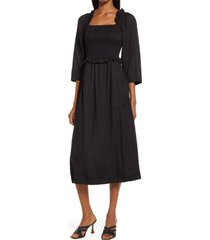 area stars women's mindy smock bodice dress, size x-small in black at nordstrom