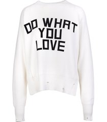golden goose woman delilah white sweater with front print