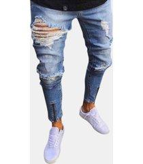 design skinny con cerniera strappata elegante jeans per uomo