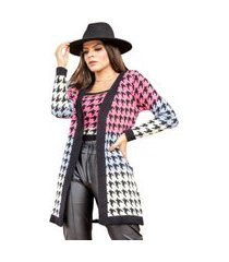 conjunto de trico pied poule multicolor preto