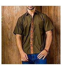men's cotton batik shirt, 'olive reserve' (indonesia)
