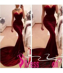 new sexy fashion mermaid sweetheart burgundy red long prom party evening gown