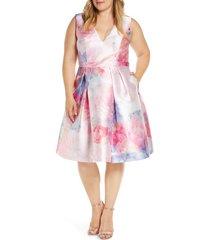 plus size women's chi chi london curve ohanna fit & flare dress