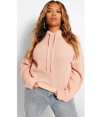 plus gebreide oversized hoodie, blush