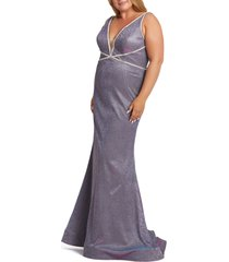 plus size women's mac duggal metallic trumpet prom dress with train, size 24w - purple