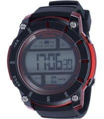 relógio digital x games xmppd518 - masculino - preto/vermelho