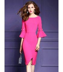 new ruffled sleeve slit wrap dress