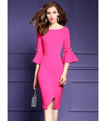 new ruffled sleeve slit wrap dress