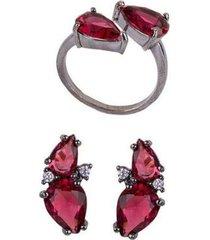 conjunto armazem rr bijoux brinco e anel gota vermelha grafite - feminino