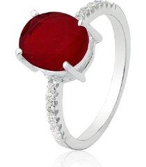 anel prata rara solitário oval jade vermelha