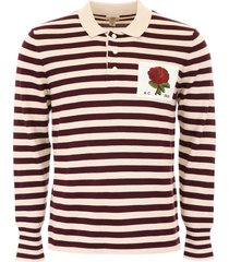 kent & curwen striped polo shirt with rose patch