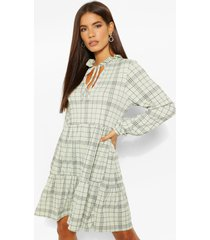 flannel high neck smock dress, green