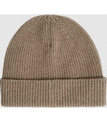 reiss holly - cashmere beanie hat in camel, womens