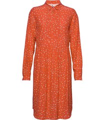 dress long sleeve knälång klänning orange noa noa