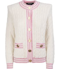 balmain woman white cardigan with pink profiles and gold embossed buttons