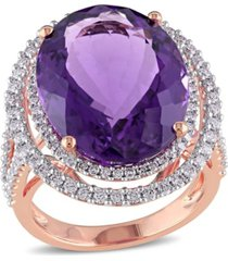 amethyst (19-1/3 ct. t.w.) and diamond (7/8 ct. t.w.) double halo ring in 14k rose gold