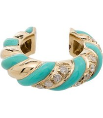 yvonne léon 9kt yellow gold, turquoise and diamond ear cuff