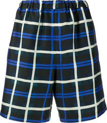 christian wijnants papo wool check shorts - blue