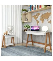 escrivaninha cavalete e mesa lateral cavalete amêndoa branco casah