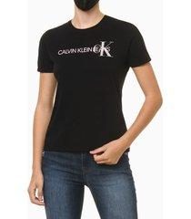 blusa feminina logo centralizado no peito preta calvin klein - pp