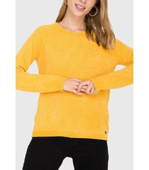 sweater io con trenzas amarillo - calce regular