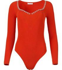embellished rib knit bodysuit, orange