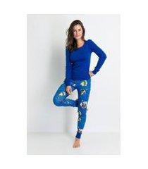 pijama longo ribana de algodão heróis acuo feminino