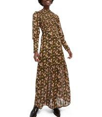 women's scotch & soda abstract print long sleeve smocked maxi dress, size large - green