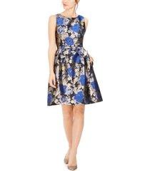 tahari asl metallic jacquard bow fit & flare dress