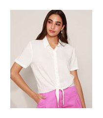 camisa feminina cropped com nó manga curta off white