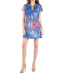 24seven comfort apparel geometric kaleidoscope pattern notch neckline mini dress