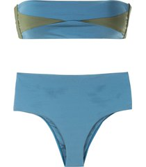 esc two-tone high-rise bikini set - blue