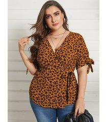 yoins plus talla abrigo de leopardo con cuello en v diseño blusa de manga corta