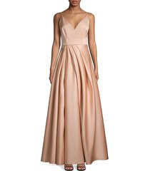 flor et. al women's beata v-neck pleated gown - pale pink - size 10